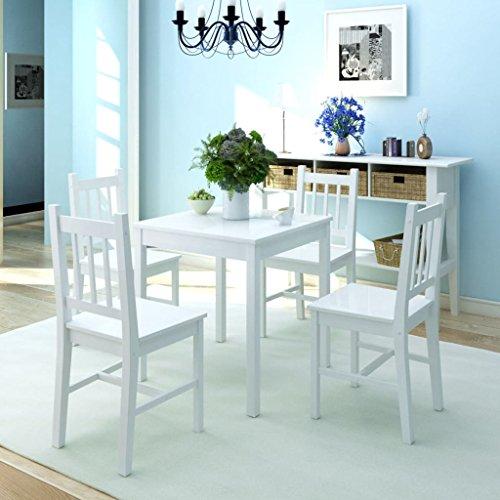 Festnight 5TLG. Essgruppe aus Pinienholz | Esstisch mit 6 stühlen | Esstischgruppe Sitzgruppe Esstisch-Set Stuhlset Holz Wei?
