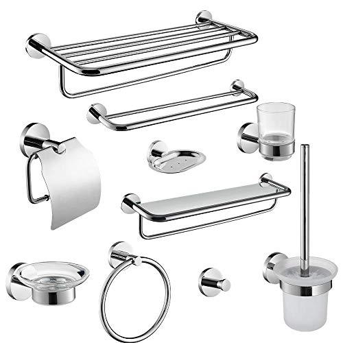 Joeesun Modern Fashion 304 Stainless Steel Silver Polished Bathroom hardwares Round Base Wall Mount Bathroom Sets,Bathroom_Products
