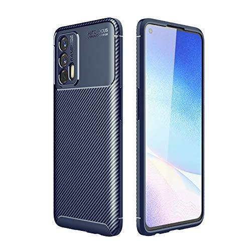 GOKEN Funda para Realme GT 5G, TPU Silicona Fibra de Carbono Protección Carcasa, Bumper Caso Case Cover con Shock- Absorción, Azul