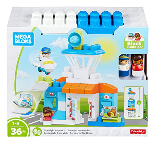 Mega Bloks- Cars 2 Megabloks Construcción Aeropuerto con 36 piezas, Color blanco/azul...