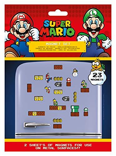 Super Mario MS65081 Set mit 23 Magneten, Mehrfarbig, 18 x 24 x 0, 3 cm