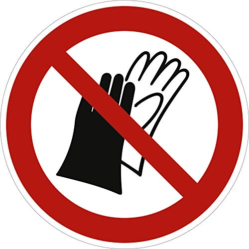 Aufkleber Schutzhandschuhe tragen verboten 20cm Ø Folie gemäß ISO 7010, P028