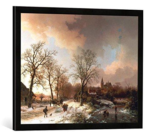 Gerahmtes Bild von Barend Cornelis Koekkoek Winterlandschaft bei Bedburg am Niederrhein, Kunstdruck im hochwertigen handgefertigten Bilder-Rahmen, 70x50 cm, Schwarz matt