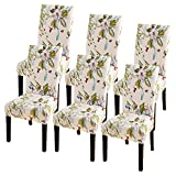 SearchI Dining Room Chair Covers Slipcovers Set of 6, Spandex Super Fit Stretch Removable Washable Kitchen Parsons Chair Covers Protector for Dining Room,Hotel,Ceremony,Beige+Flowers