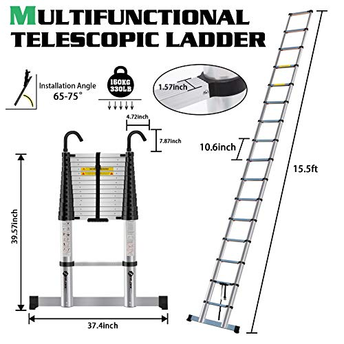 ZeeDix 15.5 FT Multi-Purpose Aluminum Telescoping Ladder with Hook- Upgrade One Button Retraction Safety Home Foldable Durable Stair for RV, Truck, Trailer, Ceiling, Roof Working, 330 lbs Capacity