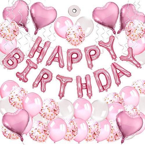 MMTX Geburtstagsdeko Mädchen Rosa Happy Birthday Girlande Luftballons Helium Folie Herz Ballon Spiralen Geburtstag deko Set für Geburtstag, Hochzeit, Deko Taufe Mädchen, Partys Dekorationen