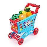 Carrito de Compras de Juguetes La Casita Mini Simulación supermercado Carrito de la Compra Cesta de Frutas Conjunto de Juguete para el Juego de rol Fingido (Color : A, Size : 30x28x15CM)