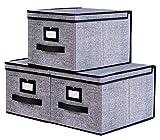 homyfort Lot de 3 boîtes de Rangement Pliable Housse avec Couvercle à 3 côtés et...