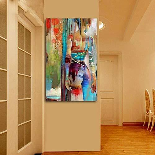 Sadhaf abstracto colorido chica vista posterior lienzo impresión pintura lienzo pinturas para sala decoración plata a5 60x90 cm