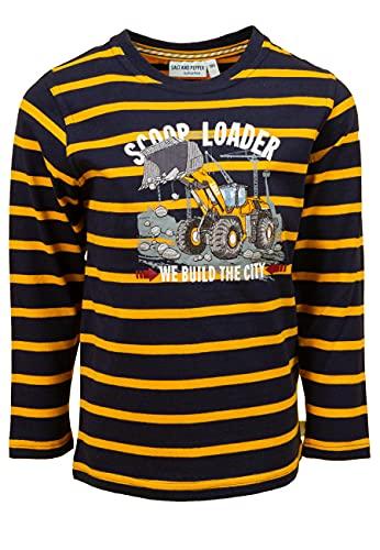 SALT AND PEPPER Jungen Langarmshirt gestreift Druck Stick Lader Organic T-Shirt, Navy, 104/110