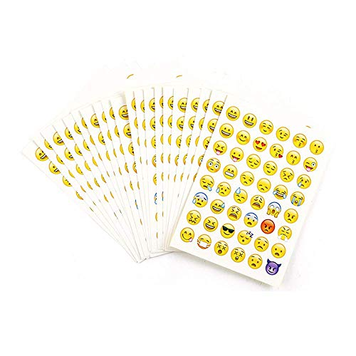 20 Sheets Popular Emoji Stickers Cute 48 Different Emoticon Faces Total 960 Stickers, Decorative Vinyl Decals for Crafts Scrapbook Party Favors