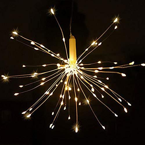 LED Lichterkette, Eiszapfen Lichterkette, Lichterkettenvorhang, Lichtkette mit Fernbedienung Outdoor Weihnachtslichterkette Batteriebetrieben, explodierendes Feuerwerk, Warmweiß (180 Lichter) (1PC)