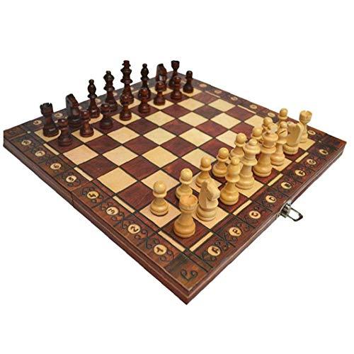 Odoukey Juego de ajedrez de 3 en 1 Placa magnética Plegable Ajedrez Ajedrez Juego de Mesa Plegable de Madera de ajedrez de Brown Junta Set 24 * 24cm