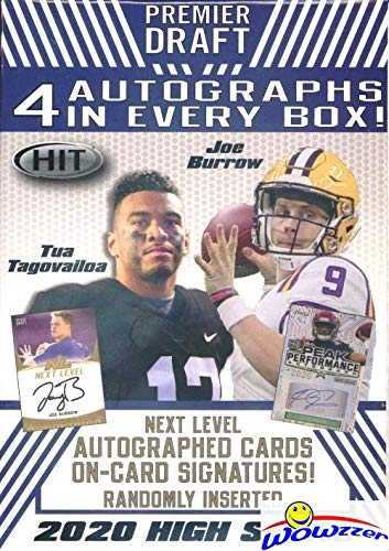 2020 Sage Hit Football HIGH SERIES Factory Sealed Retail Box with (4) AUTOGRAPHS, 68 Cards including (8) PARALLELS Cards! Look for RC & Autos of Joe Burrow, Jordan Love, Tua Tagovailoa & More! WOWZZER