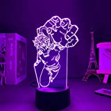 Luz nocturna 3D LED Anime Shigaraki Tomura Lámpara 3D My Hero Academia LED Night Light for boy Kids Bedroom Decor Shigaraki Tomura Birthday Gift Table Lámpara de Navidad 7 Color Touch
