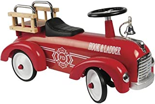 Constructive Playthings ATB-89 Hook and Ladder Steel Fire Truck Ride-On Car for Toddlers, Features Foot-Powered Motion, Easy-Steering Wheel