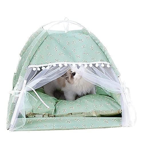 JLKDF Dog Tent Bed Cute Cat Cave Washable Foldable Puppy Kennel Cool Breathable Pet House Comfortable Detachable Outdoor Indoor Pet Bed for Small Medium Dog Cat (Green)