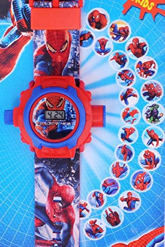 Genx Spiderman Image Projector Digital Wrist Watch for Kids | Wall Image Projector Spiderman Smart Watch | Digital Spiderman Watch with Projector| Kids Smart Projector Watch | 24 Cartoon Image Pattern