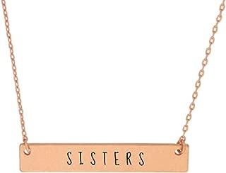 Me Plus Inspirational Horizontal Engraved Bar Pendant Necklace Soul Sisters