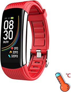 ILYWZY Pulsera 2020 C6T la Temperatura del Cuerpo Inteligente, IP67 a Prueba de Agua Reloj Inteligente, Monitor de Ritmo cardíaco, oxígeno de la Sangre Pulsera, Fitness Health Tracker