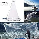 NIBESSER Hand werfen Fischernetz mit 2,4m Durchmesser Outdoor Erweiterbar Nylon Monofilament...