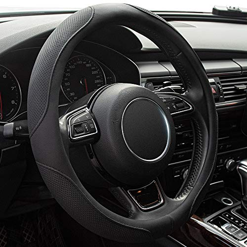 Xizopucy Steering Wheel Covers Black Universal Microfiber Leather, Suitable for 14 1/2-15 inch Car Steering Wheel Cover, Breathable, Anti Slip & Odor Free