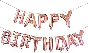 بالونات كيفانج Happy Birthday للتعليق بالأبجدية 16 بوصة من رقائق مايلر Happy Birthday لافتة للأعياد الميلاد من أجل تزيين الحفلات، وردي ذهبي