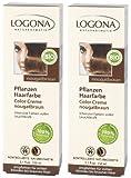 Logona Color Creme turrón braun Henna Tinte para cabello Tintura de pelo vegetal en paquete doble 2 x 150 ml