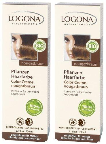 Logona Color Creme nougat braun Henna Haarfarbe Pflanzenhaarfarbe im Doppelpack 2 x 150 ml