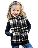Girls Buffalo Cotton Plaid Quilted Vest Cute Puff Lined Gilet (6T/120cm, Black)