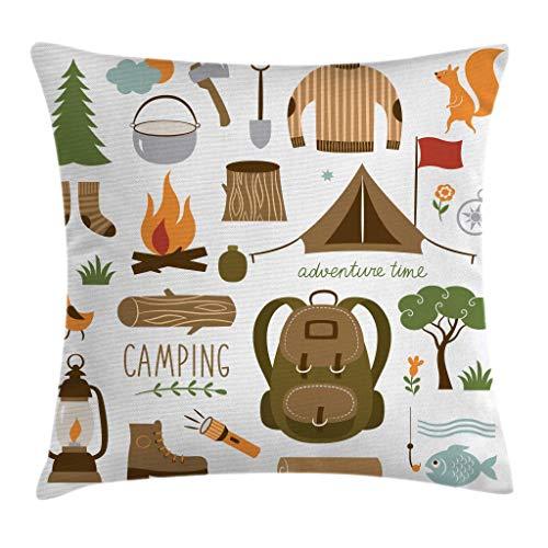 GOSMAO Adventure Throw Pillow Cojín, Equipo de Campamento, Saco de Dormir, Botas, Hoguera, Pala, Hacha, Registro, Ilustraciones, impresión, 18 x 18 Pulgadas