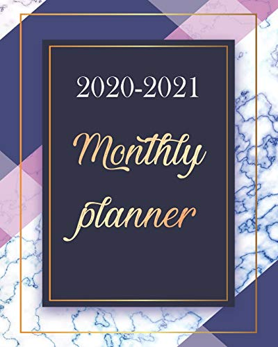 Monthly Planner 2020-2021: Colorful Marble, Blue and White 24 Months Academic Schedule With Insporational Quotes And Holiday.