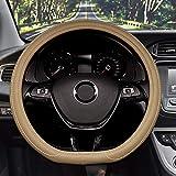 Lifetooler D tipo Coprivolante Universale Traspirante Antiscivolo Universale Fondo Piatto Protettore Volante Auto per Uomini Donne 38cm(15') in Pelle PU (beige)
