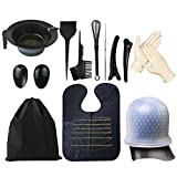 SnailGarden 14 Piezas Kit de Herramientas para Coloración,Kit de Color de Pelo para Salón de Belleza,con Cuenco Cepillos Peine Gorro Chale,etc