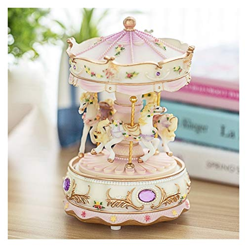 zxb-shop Music Box Revolving romantic luxury luxury carousel toy decoration Valentine's Day resin resin wedding gift clock mechanism kids music box Musical Boxes (Color : A)