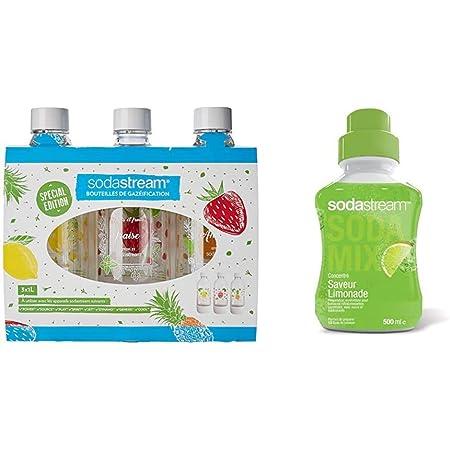 sodastream Pack DE 3 Bouteilles Pet décors Fruits édition spéciale (Citron/Fraise/Ananas), Plastique - 1L & Concentré Saveur Limonade 500ml