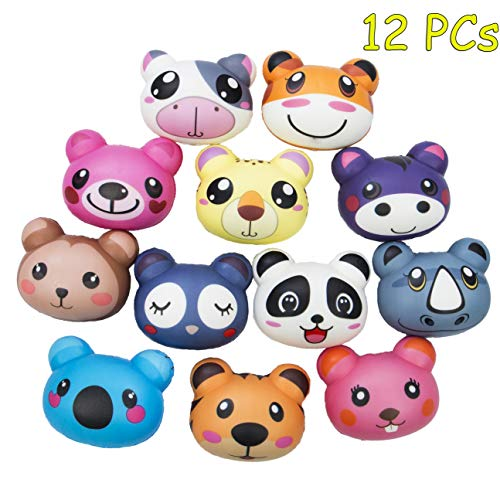 AILIMY 12PCs Animal Combination Squishies Slow Rising Jumbo Kawaii Cute Scent Kids Party Toys Stress Reliever Toy Decoration