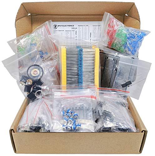Mega Electronic Component Kit Assortment, Capacitors, Resistors, LED, Transistors, Diodes, 1n270 Germanium, DC Jacks, opamp, PCB, Speaker, 1900 pcs