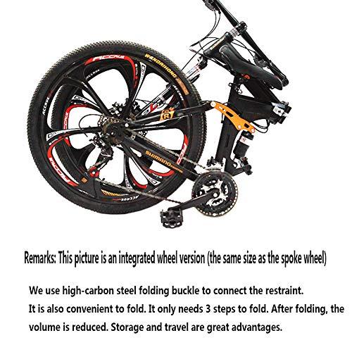 WAHHW Mountainbike Faltrad für Erwachsene 26 Zoll, Faltbares leichtes Vollfederrahmen-Fahrrad Dreirad-Cruiser-Doppelscheibenbremse,Rot