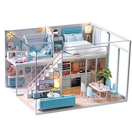 Fsolis Casa de Muñecas en Miniatura de Bricolaje con Mueble, Casa en Miniatura de Madera 3D con Cubierta Antipolvo y Movimiento Musical, Kit de Regalo Creativo de Casas para Muñecas-Poetic Life