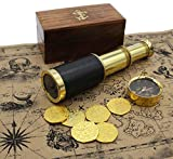 Well Pack Box Pirate Telescope Spyglass Brass 6 inch Nautical Metal Coins Treasure Map Scope Case