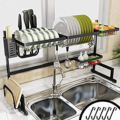 Over the Sink Dish Drying Rack Kitchen Space Save Storage Systems by