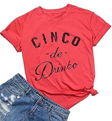 Cinco De Mayo Shirt Cinco De Drinko Mexican Shirts Womens Casual O-Neck Short Sleeve Funny Tees