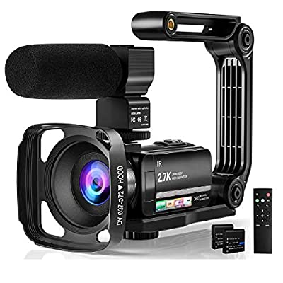"Video Camera Camcorder Digital Youtube Vlogging Camera, 2.7K Full HD 36MP/30FPS, IR Night Vision, 3.0"" IPS Touch Screen, 16X Digital Zoom, Video Camcorder with Microphone, Remote Control, 2 Batteries from DGVDO"