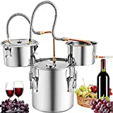 Marada Moonshine Still Water Alcohol Distiller 9.6 Gal with 3 Pots DIY Whiskey Wine Brandy Still Stainless Steel with Copper Tube Home Brew Wine Making Kit with Thumper Keg