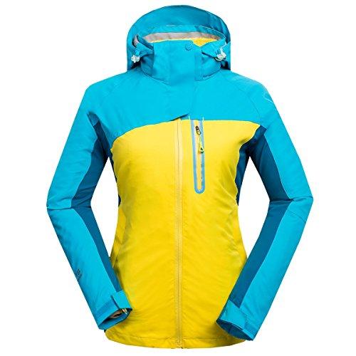 emansmoer Femme 3 en 1 Veste Coupe-Vent Imperméable Respirant Outdoor Sport Camping Randonnée Manteau avec Veste Polaire (Medium, Bleu)
