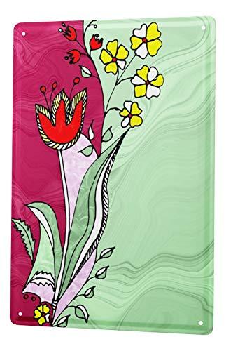 LEotiE SINCE 2004 Targhe Cartello Targa in Metallo Decorazione della Parete 30x40 cm Floreale Flora Donne Afro pentola di Terracotta sulla Testa
