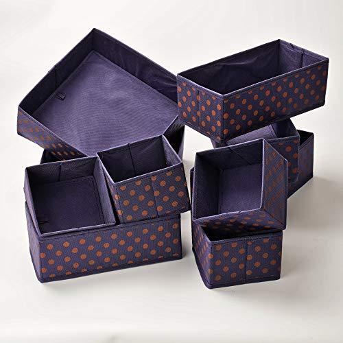 10er Set Aufbewahrungsbox für Schubladen Organizer Vlies Stoff Kleiderschrank Ordnungssystem Wickelkommode Ordnungsbox Trennsystem Korb Wickeltisch Box Baby Bad Underwear Wäsche BH Klein Blau Orange