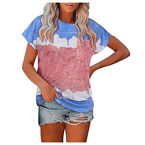 Dasongff Blusa de verano para mujer, de manga corta, cuello redondo, con estampado de bloques de color, estilo informal, con bolsillos