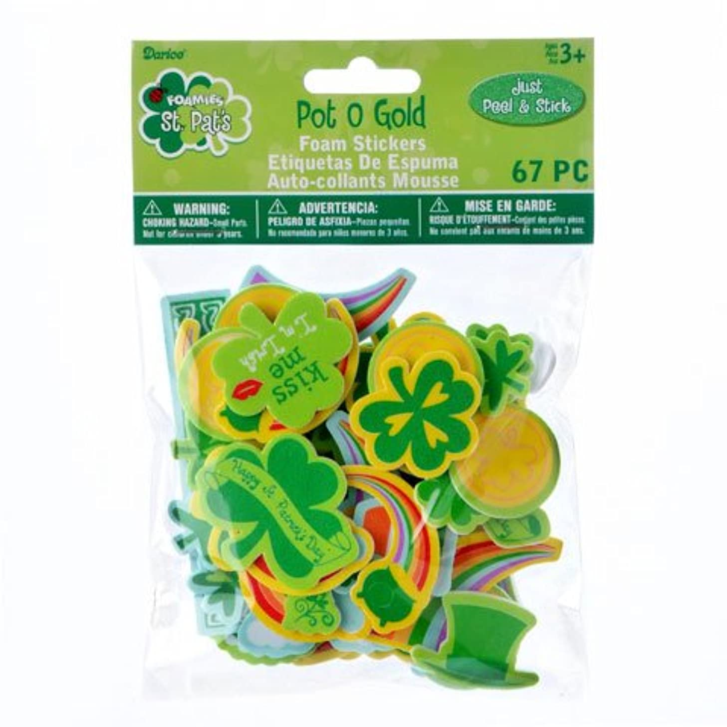 134 St. Patrick's Day Themed Pot O' Gold Peel Off Foam Stickers~Arts & Crafts~Scrap booking~School